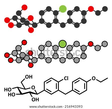 Dapagliflozin diabetes drug molecule. Inhibitor of sodium-glucose transport proteins subtype 2 (SGLT2). Conventional skeletal formula and stylized representation. - stock photo