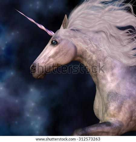 Dapple Grey Unicorn - Cosmic stars surround the beauty of a dapple grey unicorn as he prances across the universe. - stock photo