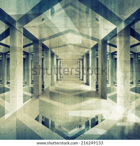 Dark abstract architecture 3d background. Concrete interior perspective - stock photo