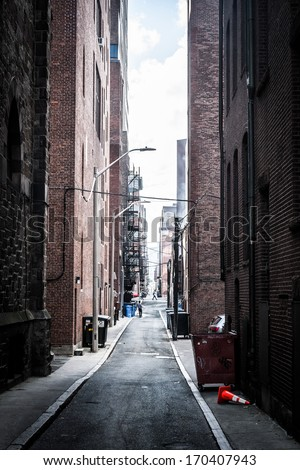 Dark alley in Boston, Massachusetts. - stock photo