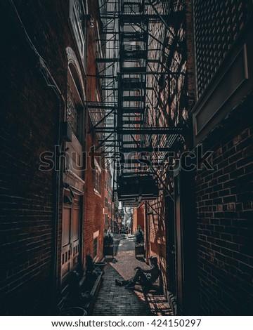 Dark alley in Boston, Massachusetts. - stock photo