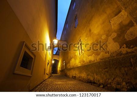 Dark alley, Prague, Czech Republic - stock photo