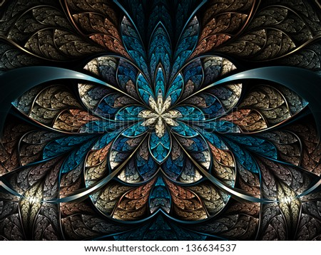 Dark and colorful fractal flower or butterfly, digital artwork for creative graphic design - stock photo
