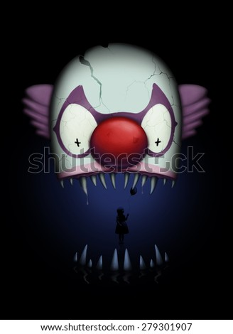 Dark and creepy clown bite illustration - stock photo