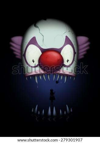 Dark and creepy clown bite illustration - stock photo