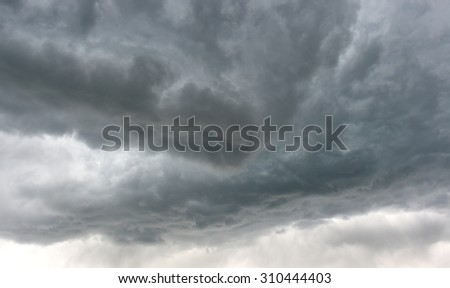 dark and dangerous grey storm clouds in sky before electrical and thunder storm in Idaho, United States - stock photo