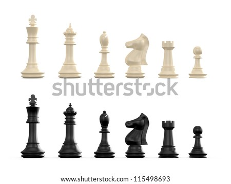 Dark and light chess set, isolated on white background. - stock photo