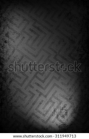 Dark and mysterious maze background image. Glow of lights on the labyrinth pattern. - stock photo