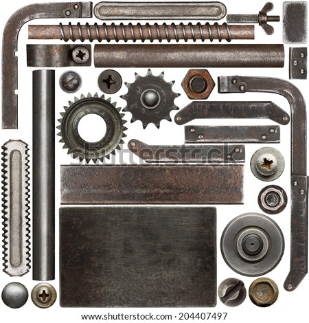 Dark and rusty metal design elements - stock photo