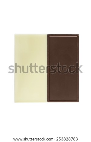 Dark and white chocolate on white background - stock photo