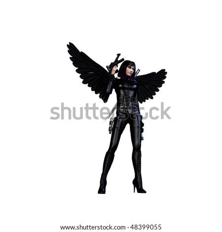 Dark Angel isolated on white - stock photo