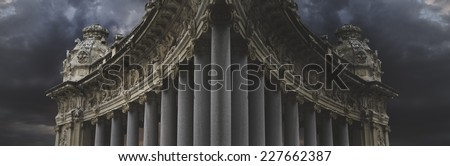 Dark architecture, over cloudy background - stock photo
