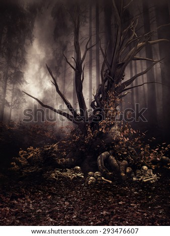 Dark autumn forest with an old tree, skulls and bones - stock photo