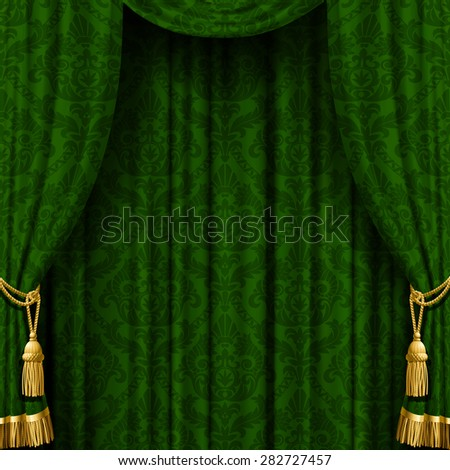 Dark background with a red curtain - stock photo