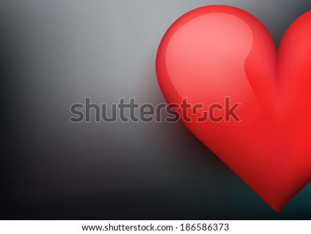Dark Background with beautiful bright heart. Illustration. Valentines day card. Editable and isolated. Love or medicine theme. - stock photo