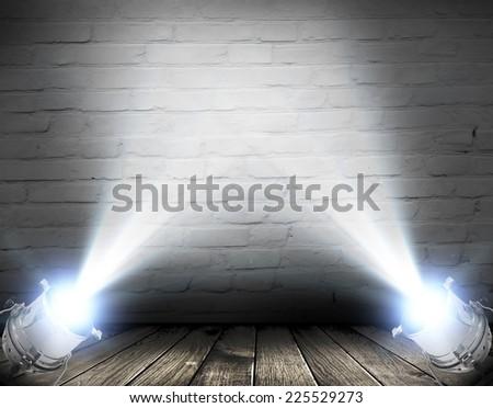 Dark background with spotlights  - stock photo