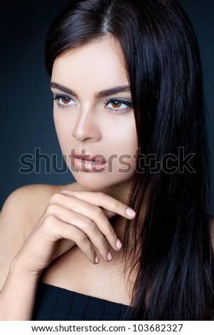 dark beauty portrait - stock photo