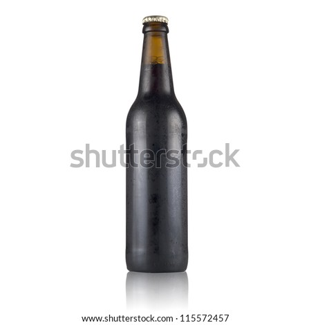 Dark beer bottle with water drop isolated on white - stock photo