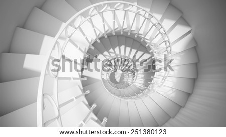 Dark black and white spiral stairs with rails in sun light abstract 3d interior - stock photo
