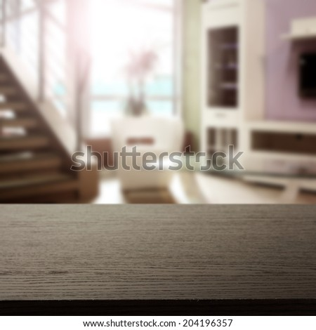 dark black desk and window space with interior  - stock photo