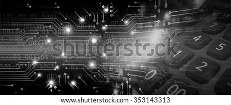 Dark black Light Abstract Technology background for computer graphic website internet business. circuit. illustration. infographics. motion move blur.neon.high tech keyboard with binary number - stock photo