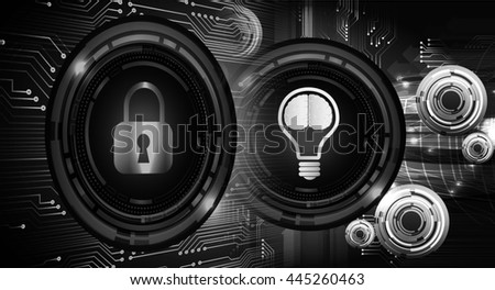 Dark black Light Abstract Technology background for computer graphic website internet business. circuit. vector illustration. infographics. motion move blur.neon. Brainstorm, Brain. Bulb Ideas - stock photo