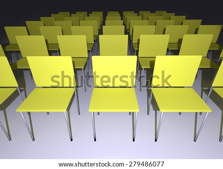 Dark blank conference room with yellow chairs - stock photo