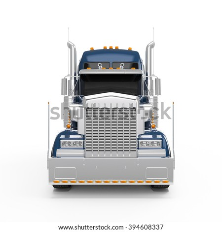 Dark Blue american truck front view isolated on white background - stock photo