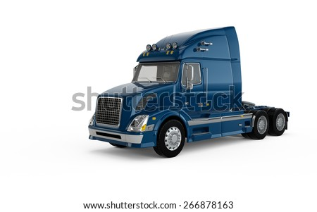 Dark blue american truck isolated on white background - stock photo