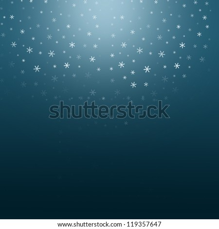 Dark blue background with falling fading snow - stock photo
