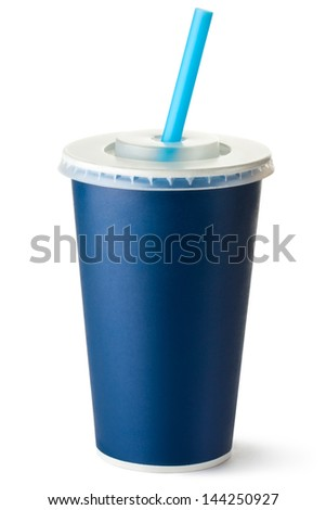 Dark blue cardboard cup with a straw. Isolated on a white. - stock photo