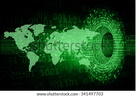 Dark blue color Light Abstract Technology background for computer graphic website internet and business.circuit.vector illustration.infographics. motion move.neon. pixel, Padlock, World Map, Global - stock photo