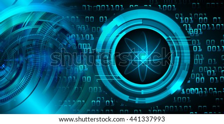 Dark blue color Light Abstract Technology background for computer graphic website internet.circuit. illustration.Nuclear,proton,neutron,nucleus. atom molecular. atom sign. Spark  - stock photo