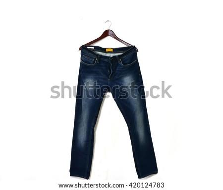Dark Blue Denim on hanger isolated on white background, rear side of jeans - stock photo