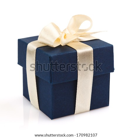 dark blue gift box with golden ribbon and bow isolated on white  - stock photo