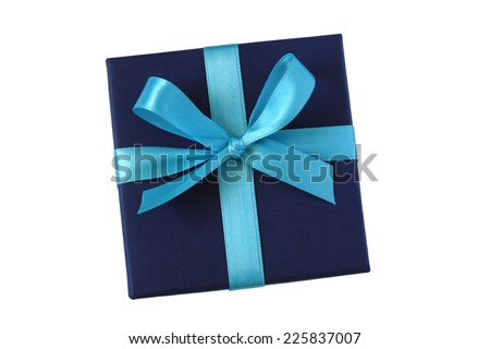 Dark blue gift box with light blue bow - top view - isolated on white background - stock photo