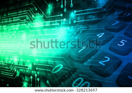 dark blue green illustration of technology internet network computer background with binary number, style background. infographics. Information. motion blur. pixel. Binary digit. number. - stock photo