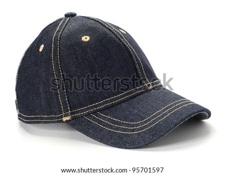 dark blue jeans cap - stock photo