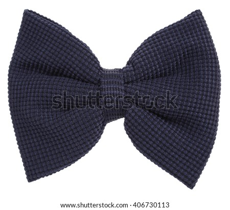 Dark blue knitted hair bow tie - stock photo