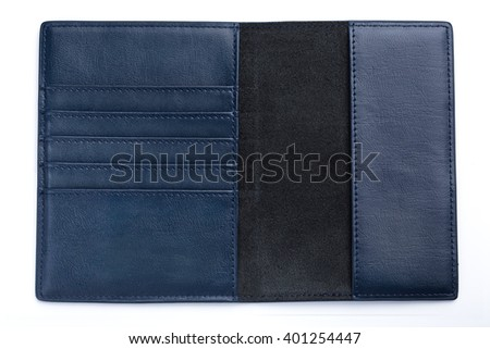 dark blue leather male passport case on white background. elegant wallet's inside shoot. man's wallet without money and cards. - stock photo