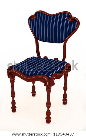 Dark blue luxurious cloth chair isolated on white background - stock photo