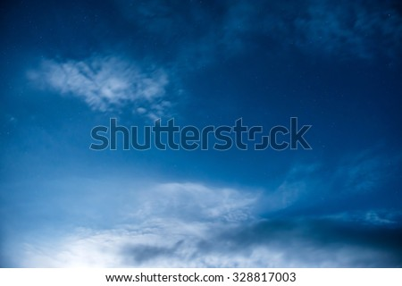 Dark blue night sky with many stars. Milky way background - stock photo