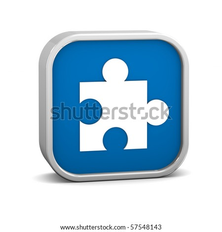 Dark Blue puzzle sign on a white background. Part of a series. - stock photo