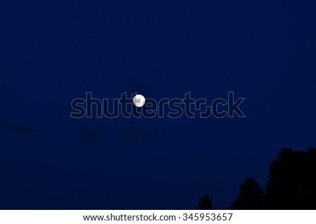 Dark blue sky with moon - stock photo