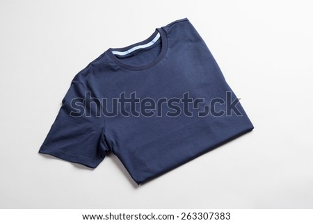Dark blue tshirt template ready for your graphic design. - stock photo