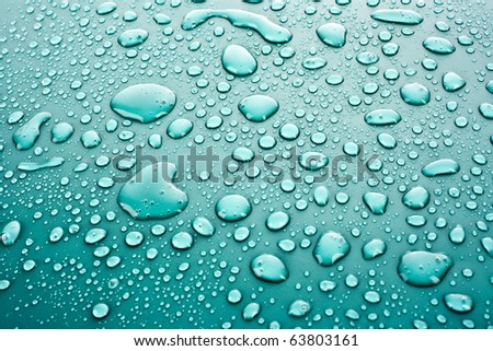 Dark blue water drops background - stock photo