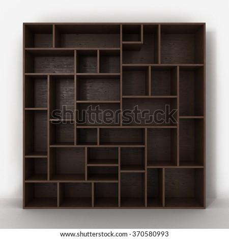 dark bookcase with shelves isolated on white background - stock photo