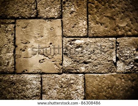 dark brick wall structure - stock photo