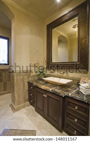 Dark brown bathroom unit with leather mirror frame - stock photo