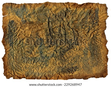 Dark brown  horizontal paper sheet with torn edges texture - stock photo
